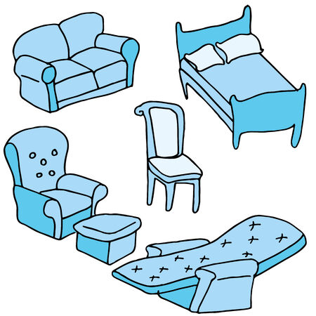 An image of a set of furniture. Vector