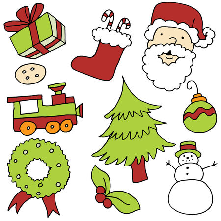 An image of Christmas items. Vector