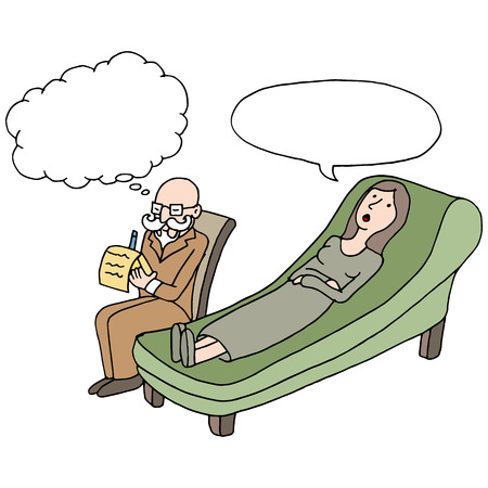 An image of a woman having a therapy session. Illustration