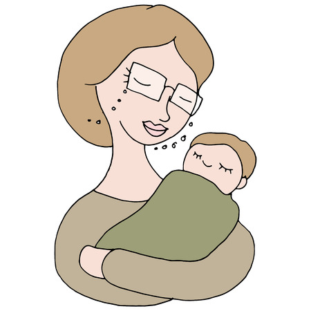 baby cartoon: An image of a woman holding a baby.