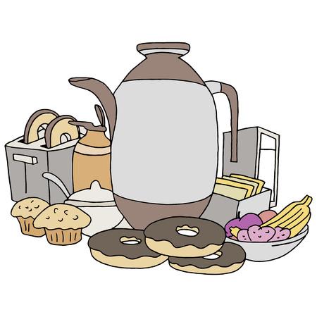 creamer: An image of breakfast items. Illustration