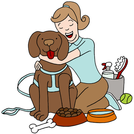 An image of a female taking care of a dog.