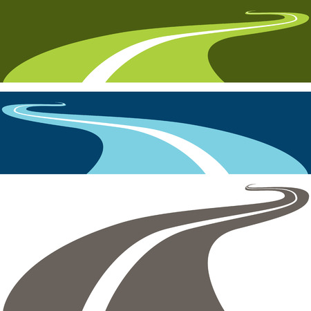 An image of a winding road. Vector