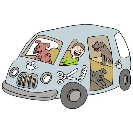 An image of a mobile dog groomer. Illustration