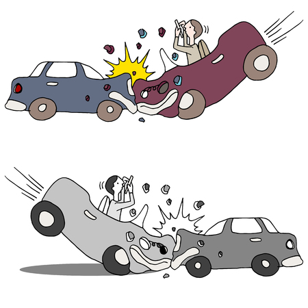 An image of a texting car accident. Illustration