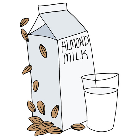 An image of an almond milk carton and glass. Illustration