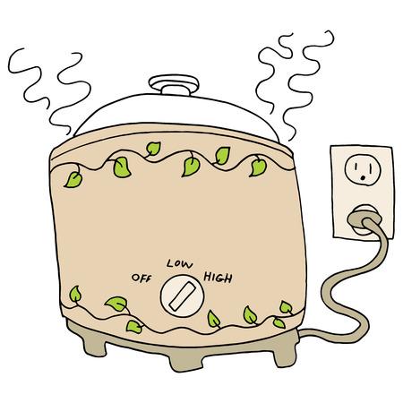 slow food: L'immagine di una pentola fornello lento.