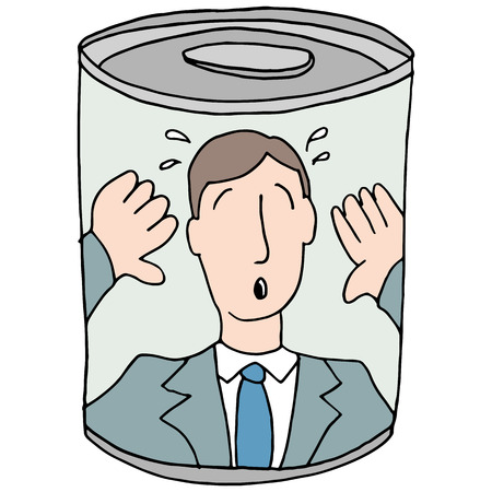 hysteria: An image of a canned employee.