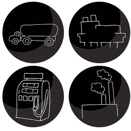 An image of oil and gas icons. Ilustração