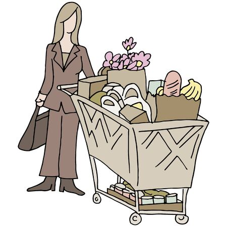 errands: An image of a grocery shopping woman.