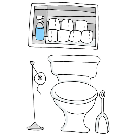 An image of a bathroom with essential items. Vector