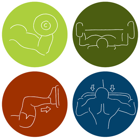benchpress: An image of a muscle building fitness icons. Illustration