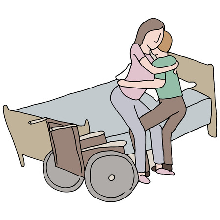 An image of a man lifting a disabled woman. Vector