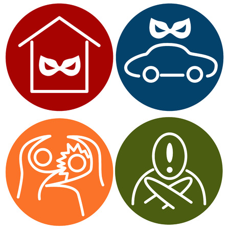 An image of crime alert icons. Vector