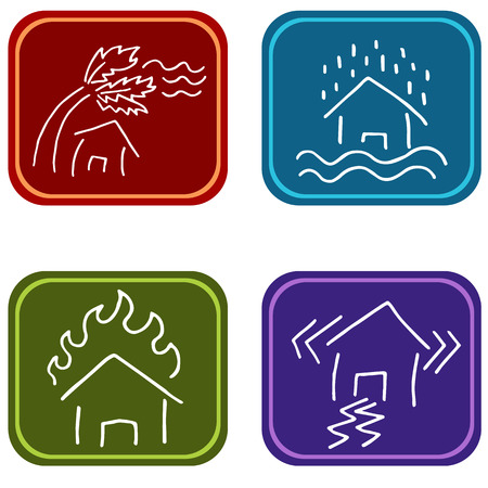 An image of house damage icons. Illustration