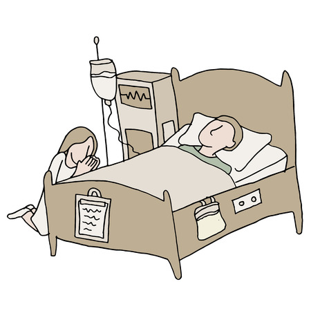 enfermo: Una imagen de un paciente en estado crítico. Vectores
