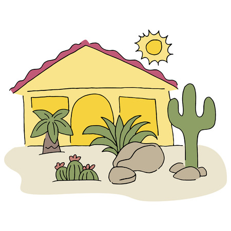 frontyard: An image of a home with desert landscaping. Illustration