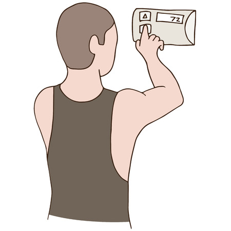 manually: An image of a man adjusting a thermostat.