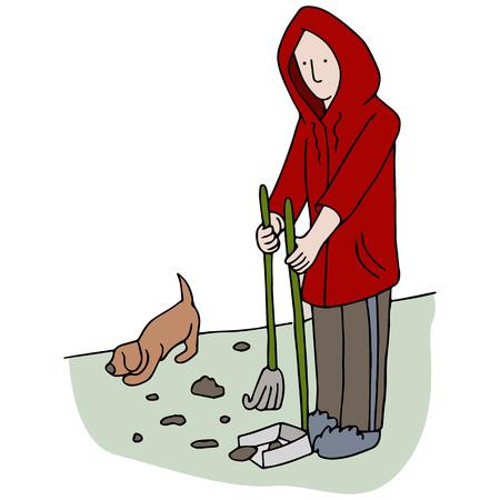 An image of man picking up dog poop. Illustration
