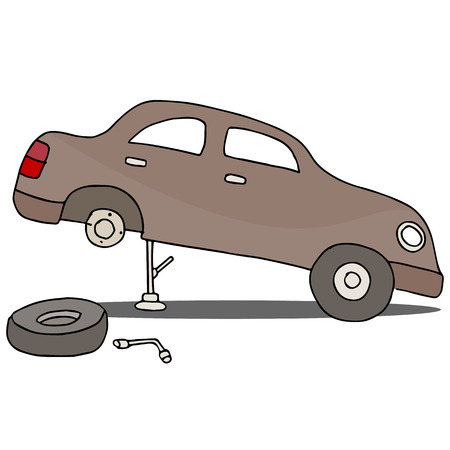 replacing: An image of fixing a flat tire.