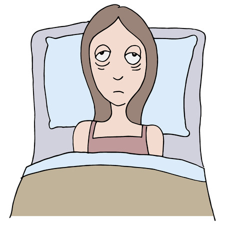 tired cartoon: An image of a girl with insomnia.