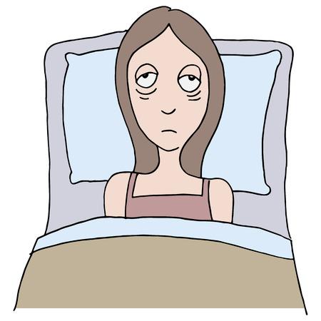 ersch�pft: Ein Bild von einem M�dchen mit Schlaflosigkeit. Illustration