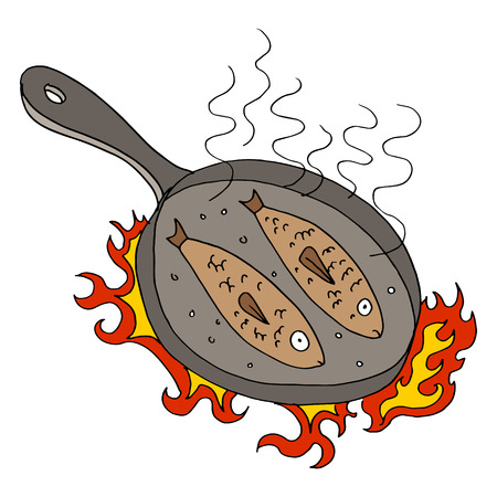 An image of fish being fried. Vector