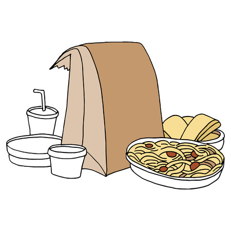 An image of takeout Italian food. Vector