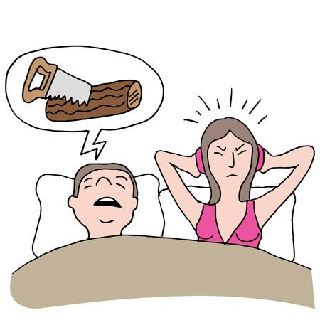 snoring: An image of a snoring husband.