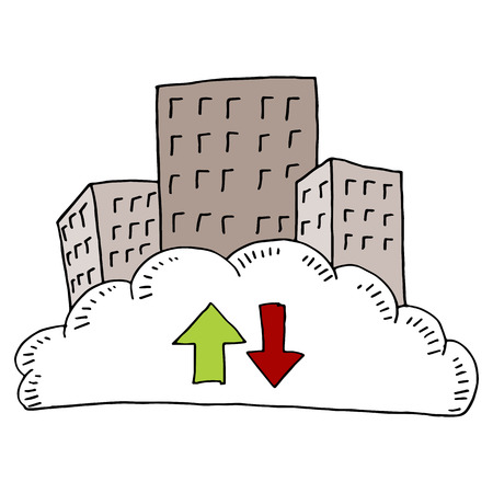 An image of a downtown cloud network. Vector