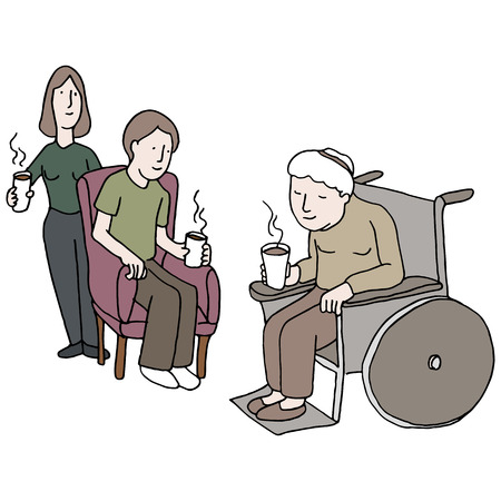 nursing home: An image of a family visiting someone in a nursing home. Illustration