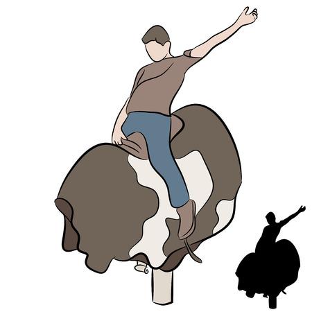 toros bravos: Una imagen de un hombre montado en un toro mec�nico. Vectores