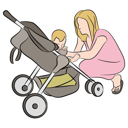 An image of a mom helping her baby in a stroller.