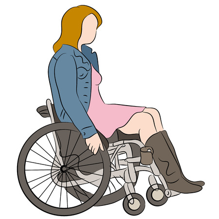 An image of a woman in a wheelchair. Vector