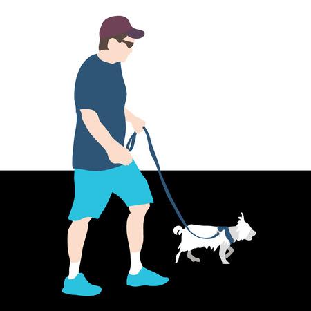 An image of a man walking a dog.