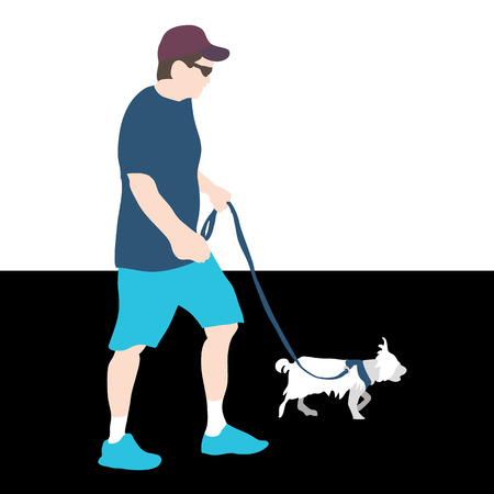 harness: An image of a man walking a dog.