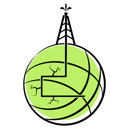 An image of a globe with hydraulic fracking. Ilustrace