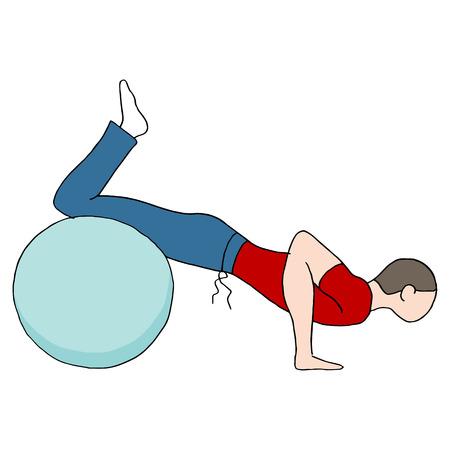 fitness ball: Una imagen de una pelota de fitness y el hombre haciendo flexiones.