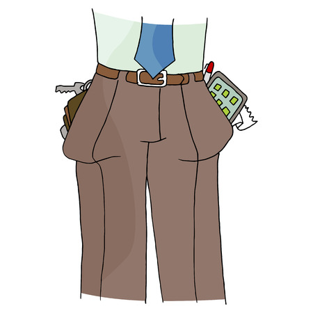 storage device: An image of a man with full pockets.
