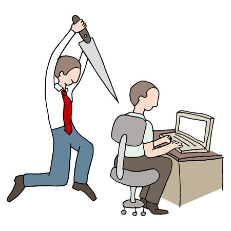 An image of a back stabbing co-worker.