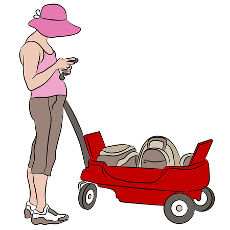 a pink cell: An image of a woman with a red wagon.