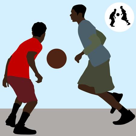An image of two teenagers playing basketball.