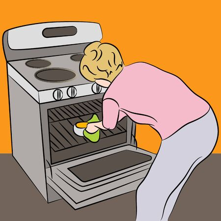 hot woman: An image of a woman using an oven.
