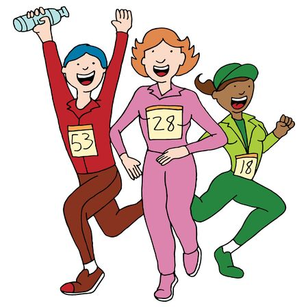An image of a people in a running event. Vector
