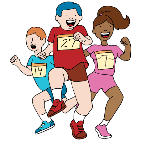 An image of teenage runners. Vector