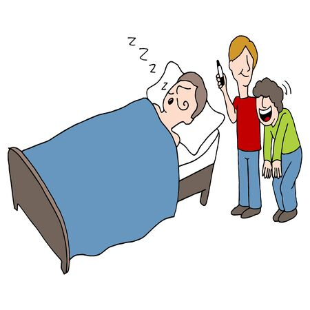 An image of people drawing a mustache on someone while he sleeps. Vector