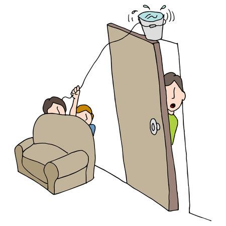 An image of a water bucket practical joke. 向量圖像