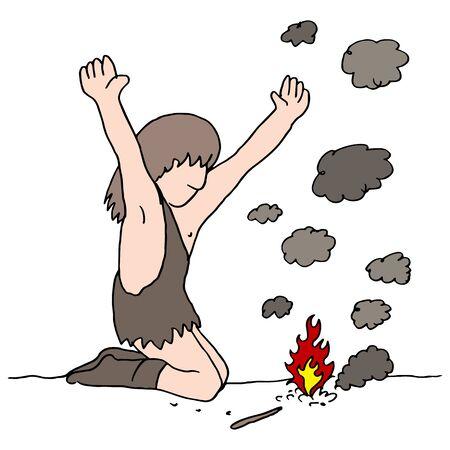 화재를 발견하는 동굴 남자의 이미지.