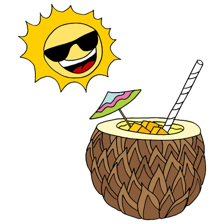 tropical drink: Una imagen de una bebida tropical.