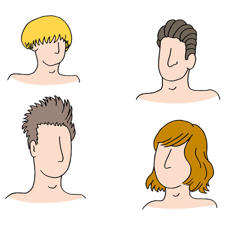 slicked: An image of hairstyles of different men.
